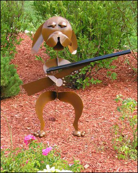 Hunting Dog Sculpture with Shotgun!