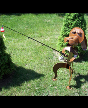 Fishing Dog Sculpture with Fishing Pole!